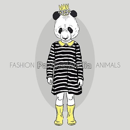 fashion illustration of cute panda girl