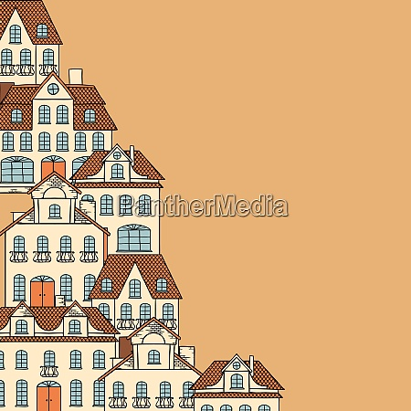 city sketch houses background for your