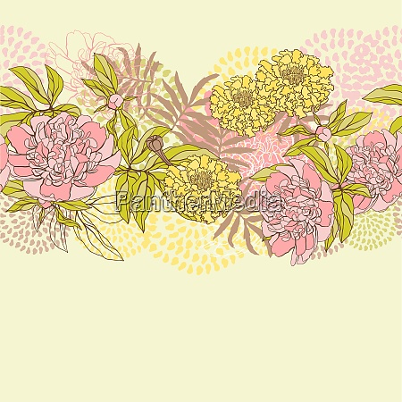 vector seamless pattern with flowers hand