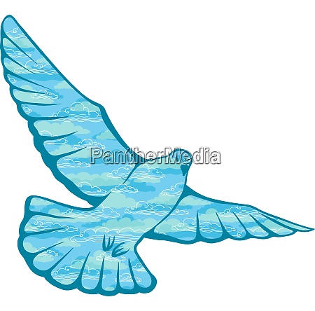 hand drawn vector pigeon made of