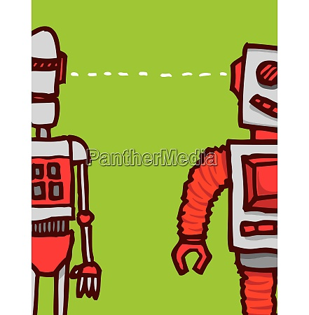 cartoon illustration of two different robots