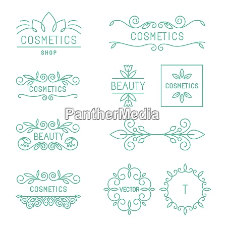 vector beauty and cosmetics logos and