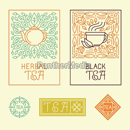 vector tea packaging labels and badges