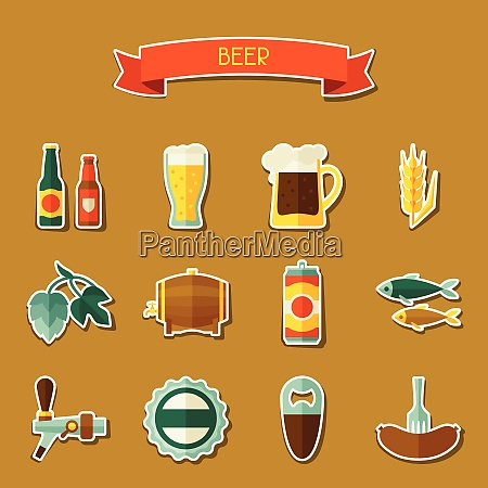 beer sticker icon and objects set