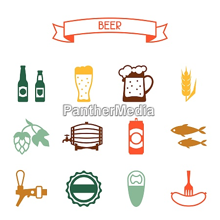 beer icon and objects set for
