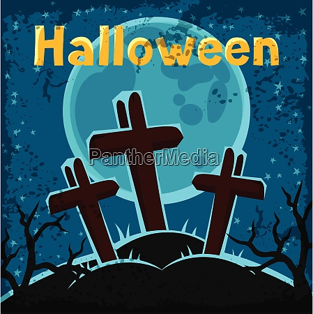 happy halloween greeting card with cemetery