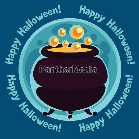 happy halloween greeting card with moon