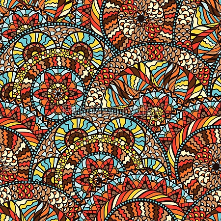 ethnic seamless pattern with hand drawn