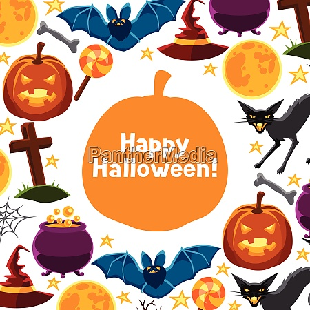 happy halloween greeting card with characters