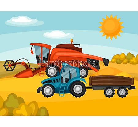 combine harvester and tractor on wheat