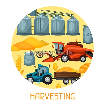 harvesting background combine harvester tractor and