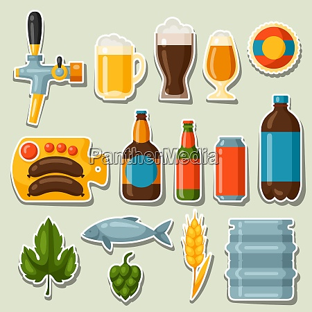beer stickers and objects set for