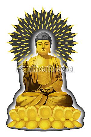 statue illustration golden buddha asiatische kultur