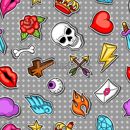 seamless pattern with retro tattoo symbols