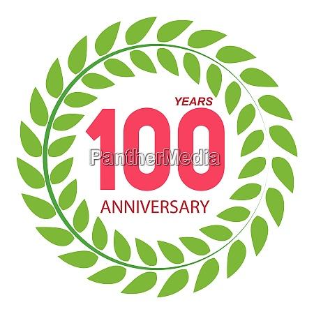 vorlage logo 100 jahrestag in lorbeer
