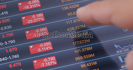 tablet showing stock market data