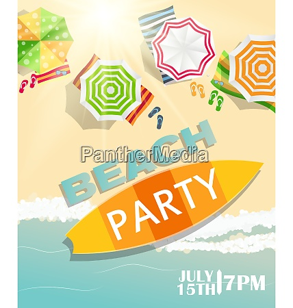 beach summer party poster vector illustration