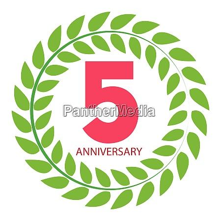vorlage logo 5 jahrestag in lorbeer