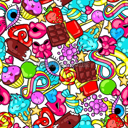 seamless kawaii pattern with sweets and