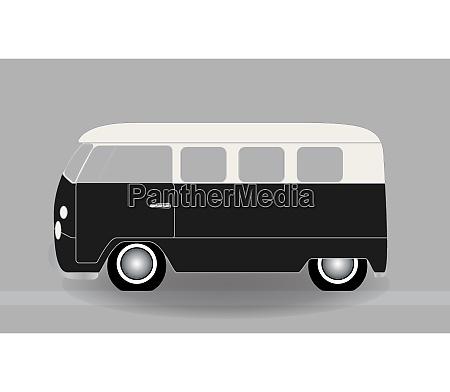 cartoon cheerful minibus which travels on