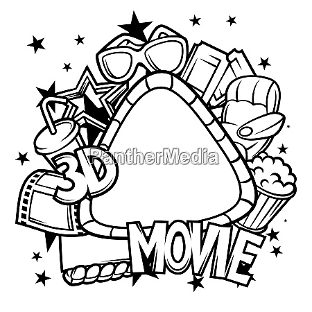 cinema and 3d movie frame in