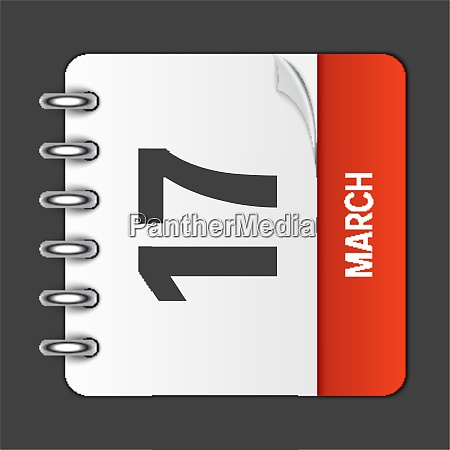 march 17 calendar daily icon vector
