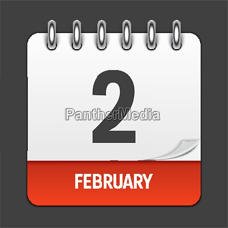 february 2 calendar daily icon vector