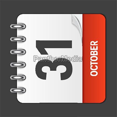 october 31 calendar daily icon vector