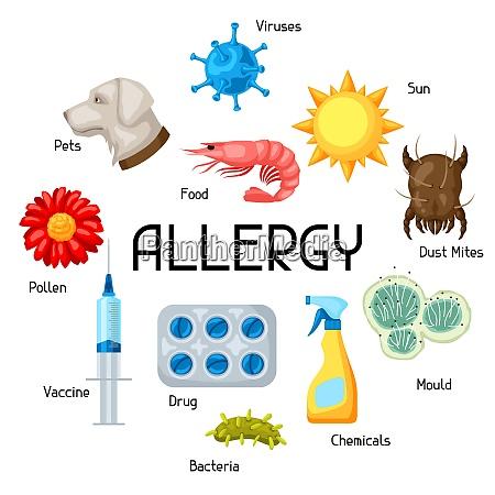 allergie hintergrund mit allergenen und symbolen