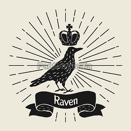 background with black raven hand drawn