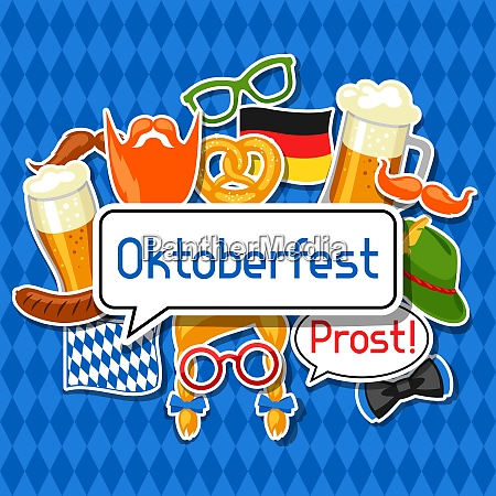 oktoberfest card with photo booth stickers