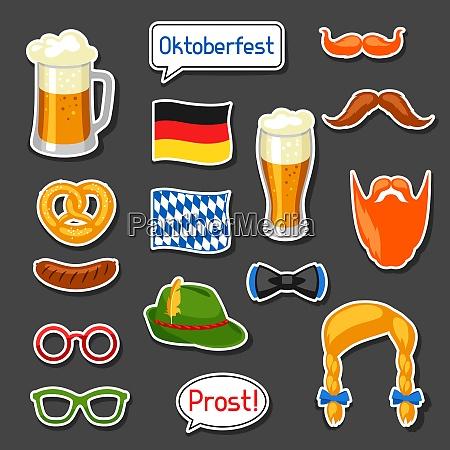 set of oktoberfest photo booth stickers