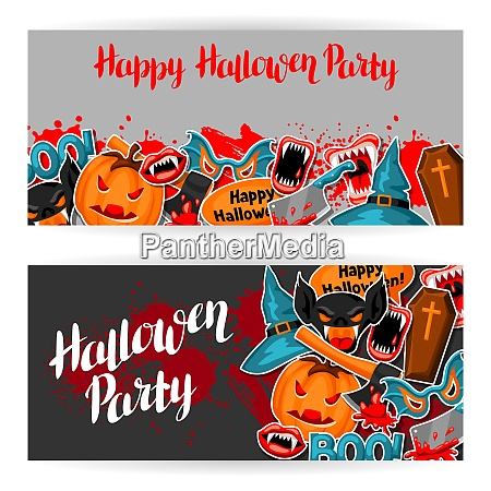 happy halloween banners with cartoon holiday