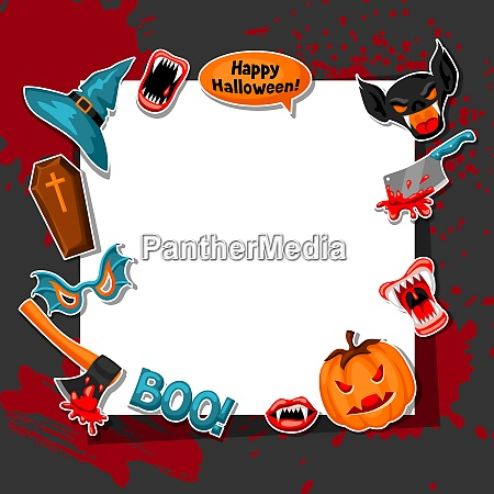 happy halloween frame with cartoon holiday