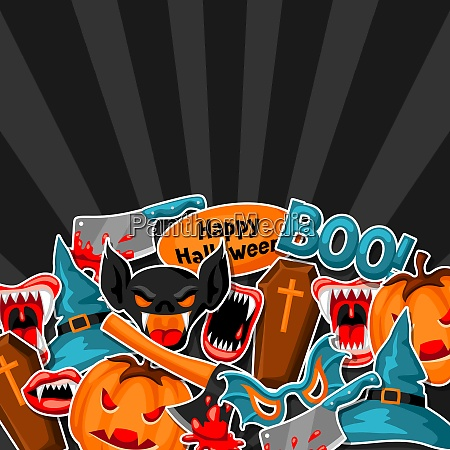 happy halloween background with cartoon holiday