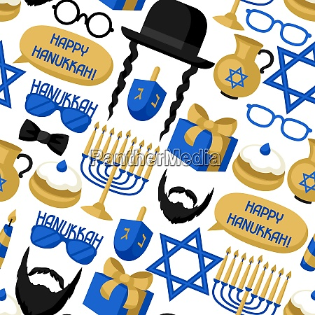happy hanukkah seamless pattern with photo
