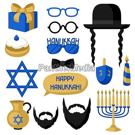 happy hanukkah photo booth stickers accessories
