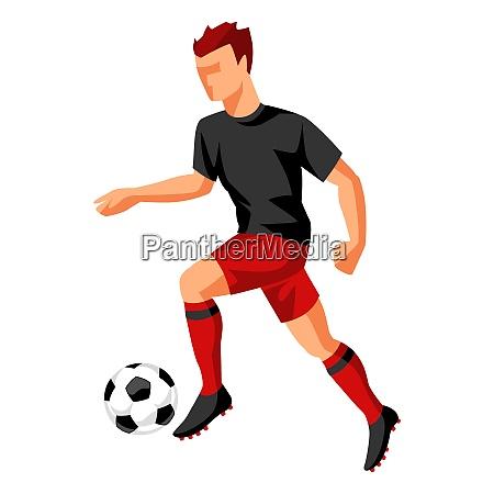 fussballspieler mit ball sportfussball illustration fussballspieler