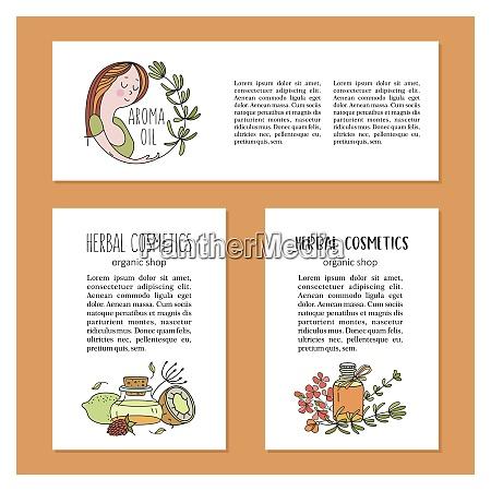 herbal cosmetics vector illustration brochure template