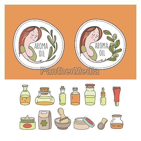 herbal cosmetics natural oil vector hand