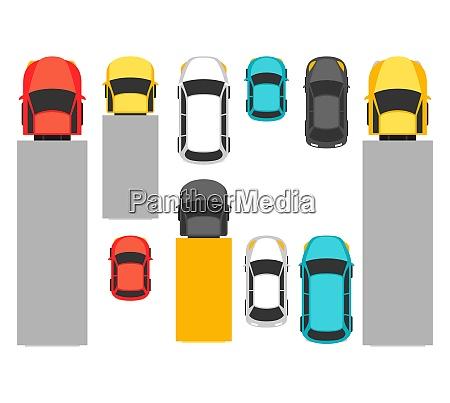 satz von top ansicht verschiedene autos