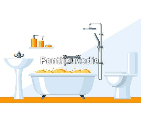 illustration of bathroom interior illustration of