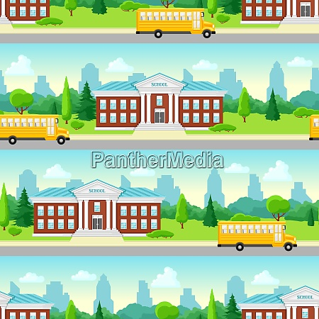 seamless pattern with school building and