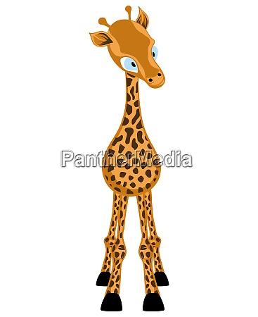 funny cartoon character giraffe looking