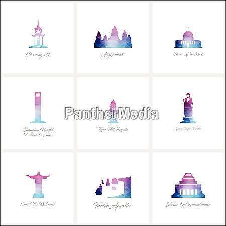 world fomous wahrzeichen icons setzen design