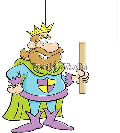 cartoon illustration of a king holding