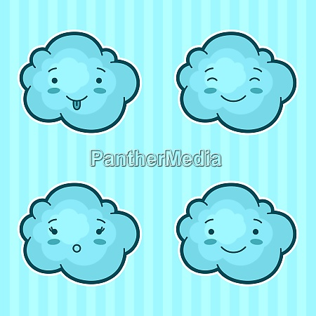 set of kawaii clouds with different
