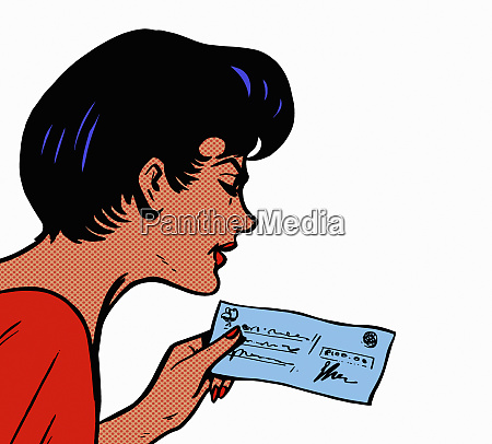 woman reading cheque