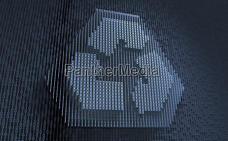 recycling symbol in dreidimensionalem binaercode