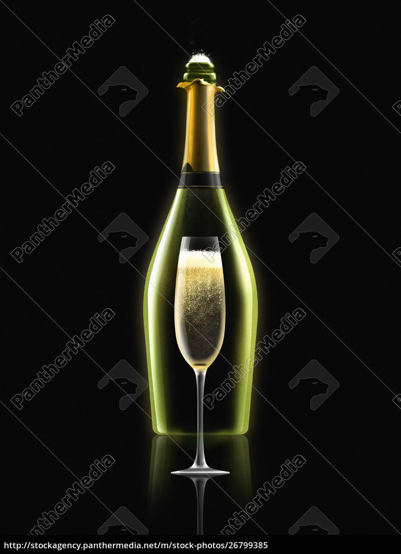 flasche, champagner, mit, champagnerflöte - 26799385